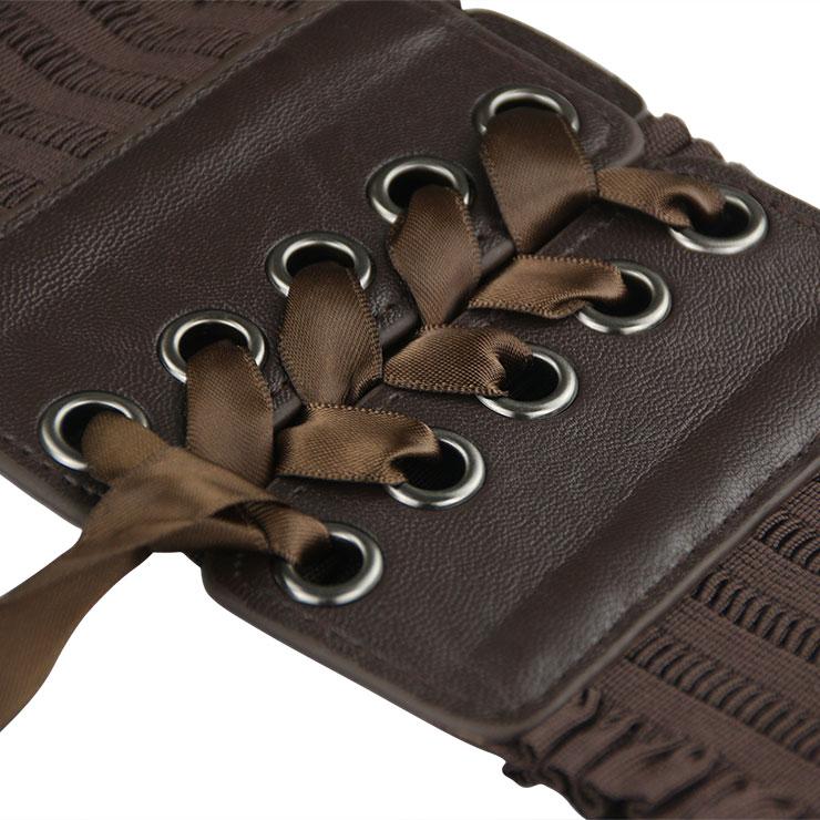Tied Wasit Belt, High Waist Corset Cinch Belt, Steampunk Wasit Belt, Waist Cincher Belt Brown, Lace Up Wide Waistband Cinch Belt, Elastic Waist Belt, #N14804