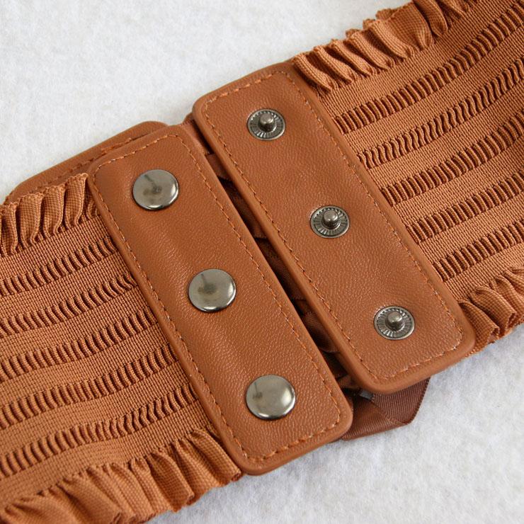 Tied Wasit Belt, High Waist Corset Cinch Belt, Steampunk Wasit Belt, Waist Cincher Belt Brown, Lace Up Wide Waistband Cinch Belt, Elastic Waist Belt, #N14805