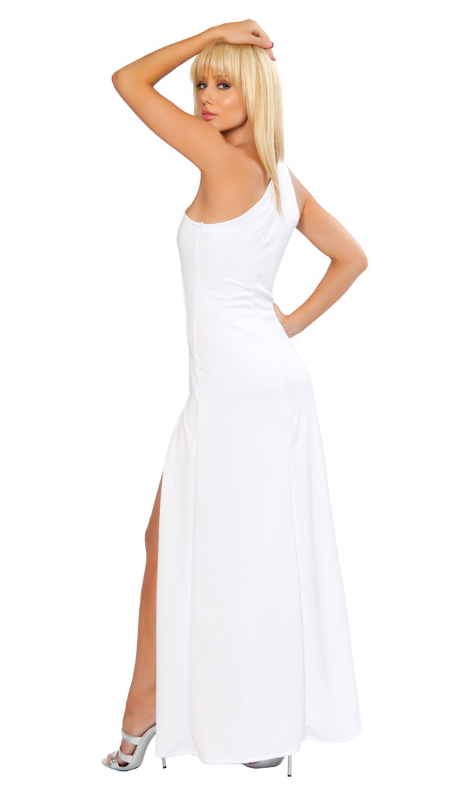 One Shoulder Dress White Solid Cut Out