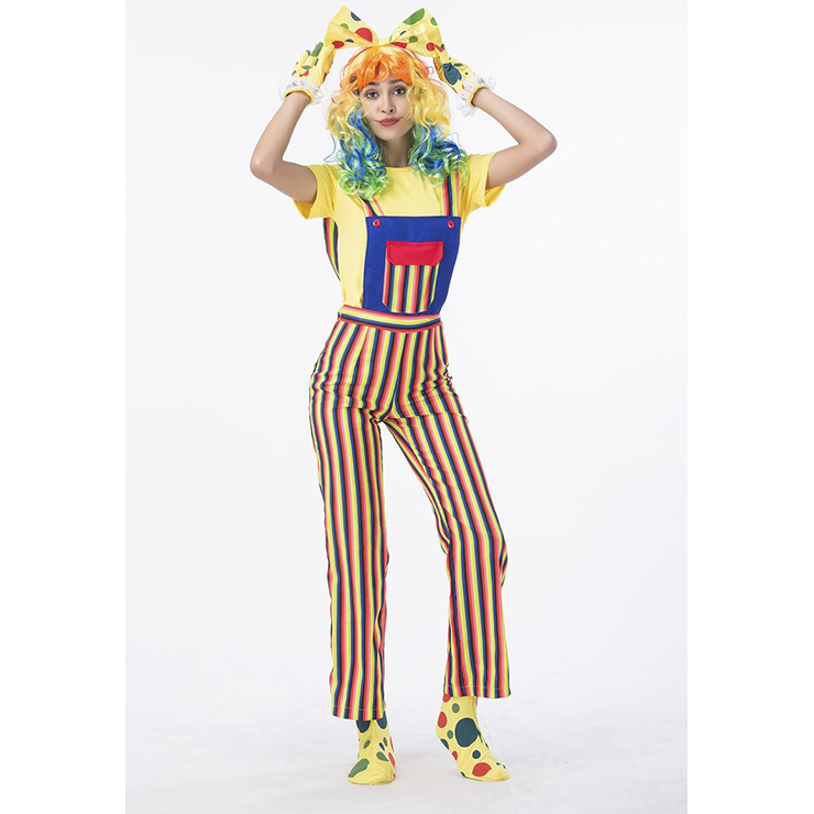 Women's Funny Circus Clown Suits Set Adult Costume N14766