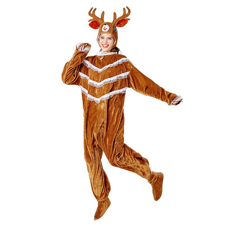 3pcs Unisex Funny Elk Animal Bodysuit Pajama Adult Cosplay Halloween Costume N20734