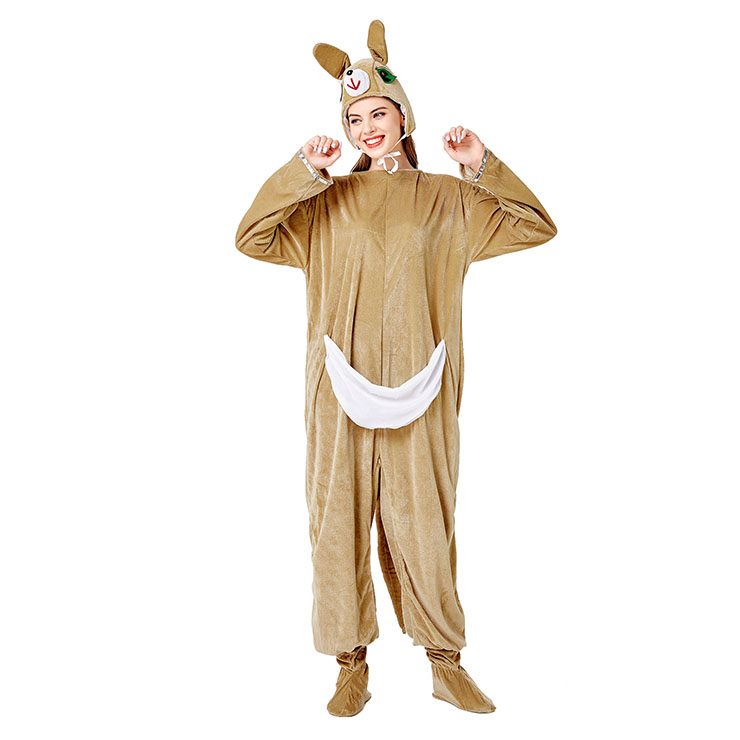 Animal Kangaroo One-piece Pajamas, Exclusive Monster Costume, Exclusive Halloween Monster Costume,Khaki Monster Halloween Costume, Funny Furry Monster Costume, Monster Halloween Costume, Circus Girl Clown Cosplay, #N20732