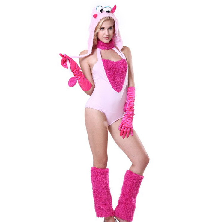 Exclusive Furry Polly Pinky Monster Costume Circus Girl Clown Cosplay Halloween Costume N18228
