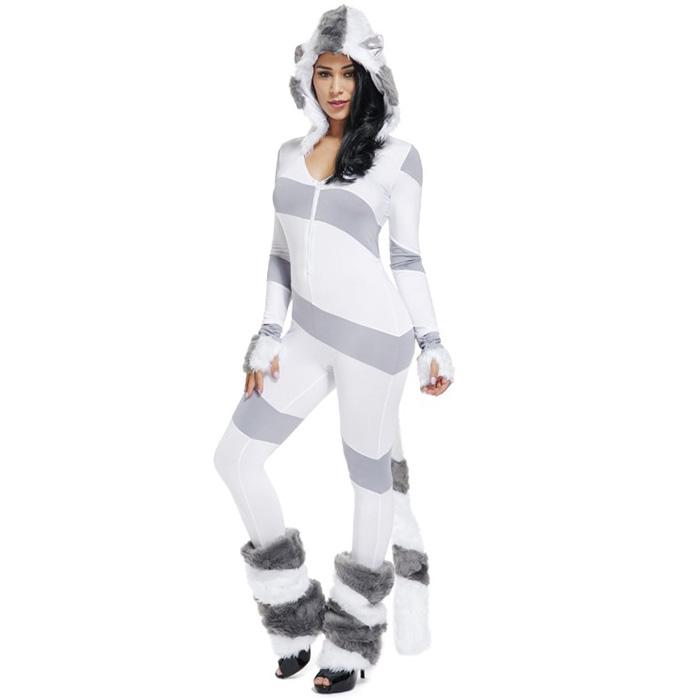 Exclusive Zebra Monster Costume, Exclusive Halloween Monster Costume, White and Black Monster Halloween Costume, Funny Furry Monster Costume, Monster Halloween Costume, Circus Girl Clown Cosplay, #N18471