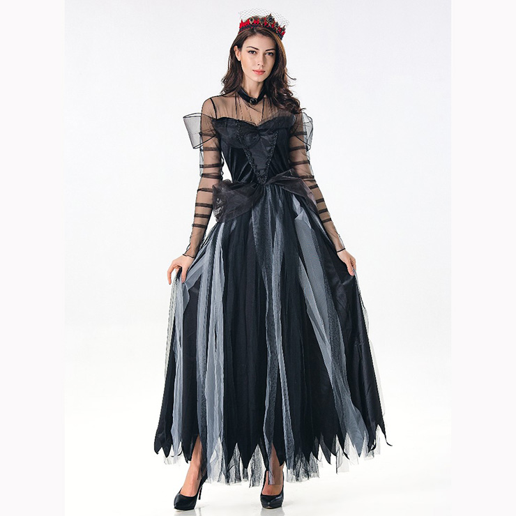 Black Ghost Bride Role Play Costume, Classical Adult Ghost Bride Halloween Costume, Deluxe Ghost Bride Dress Costume, Vampire Bride Masquerade Costume, Ghost Bride Halloween Adult Cosplay Costume, #N17108