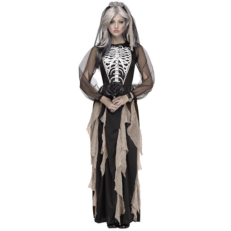 Adult Bones Printed Ghost Bride Dress Vampire Halloween Costume N18144