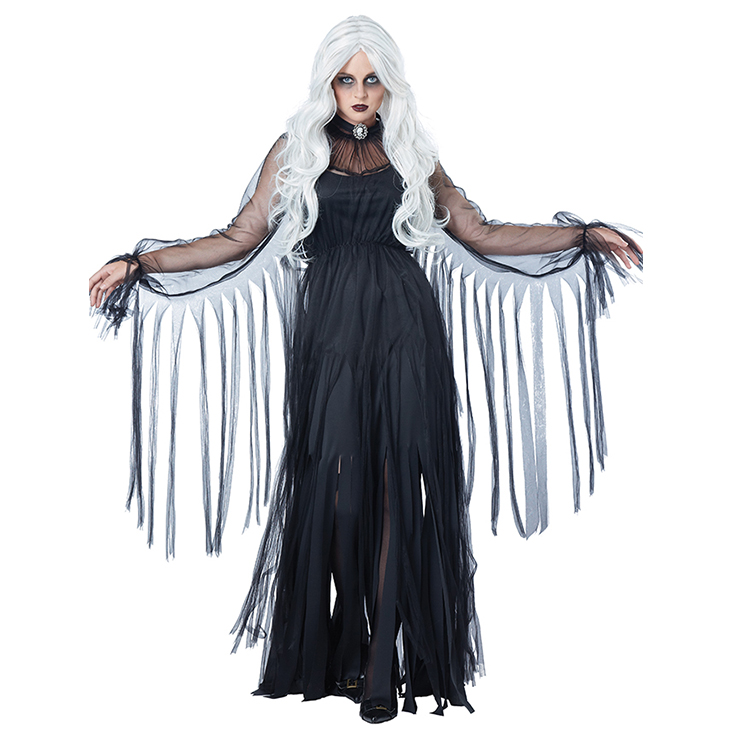 Black Evil Ghost Bride Dress Adult Vampire Halloween Costume N18196