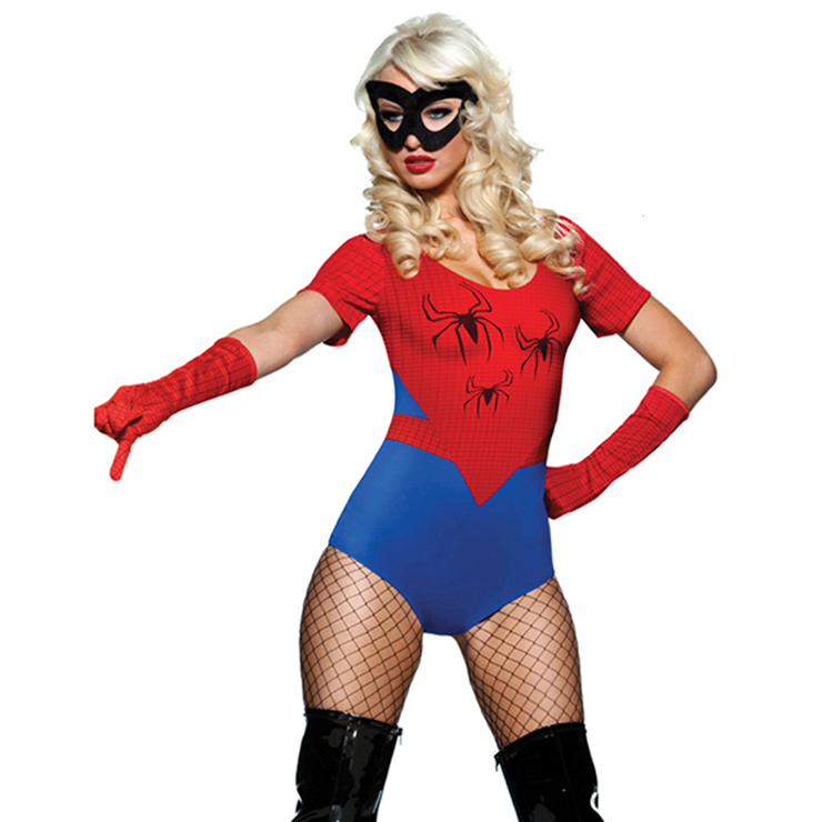 Women's Spider Short Sleeves Leotard Theatrical Fancy Ball Adult Halloween Costume N5615