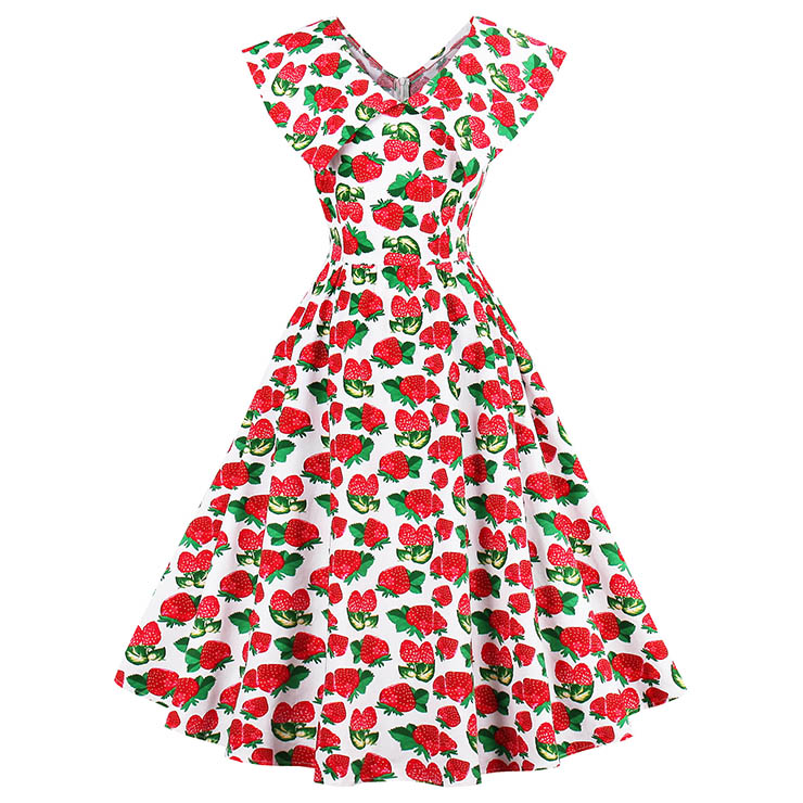 Women's Vintage Strawberry Print Sleeveless Turndown Collar Swing Cocktail Dress N14373