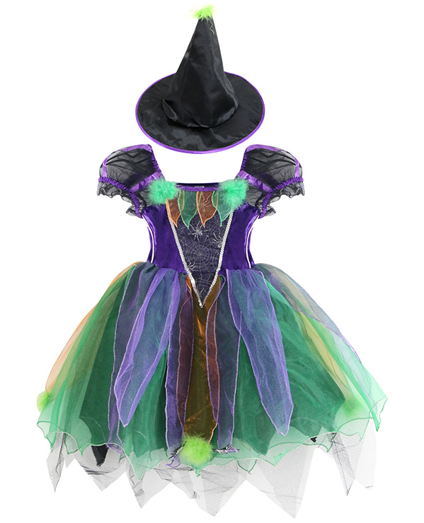 Girls Witch Costume, Child Rainbow Glitter Witch Costume, Girls or Toddler Glitter Witch Costume, #N5922