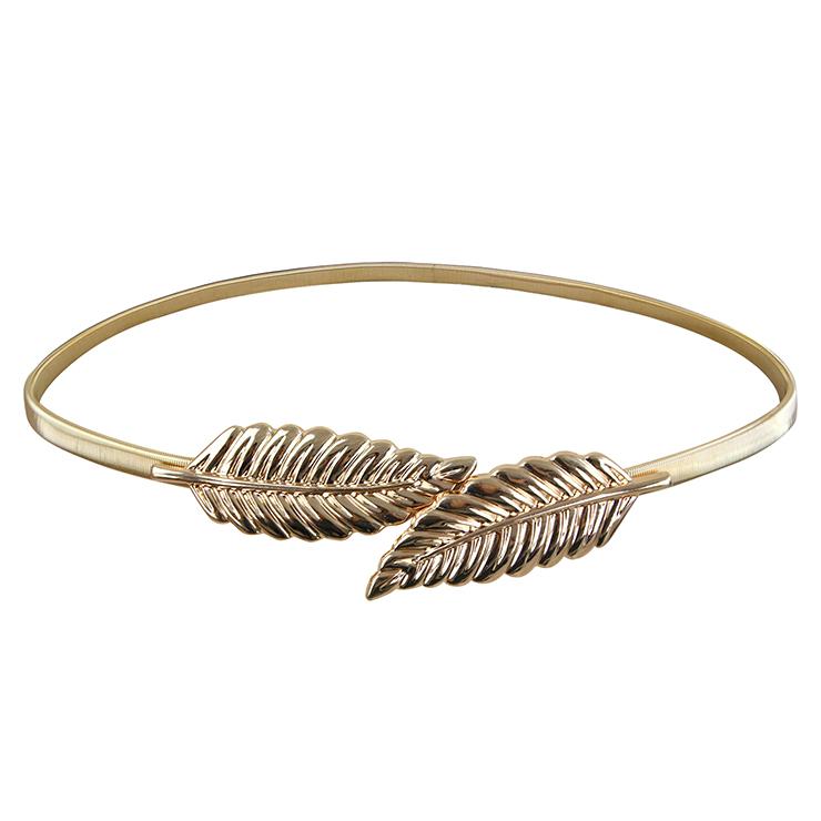 Women's Fashion Gold Metal Leaf Elastic Dress Waist Thin Cinch Belt N16053