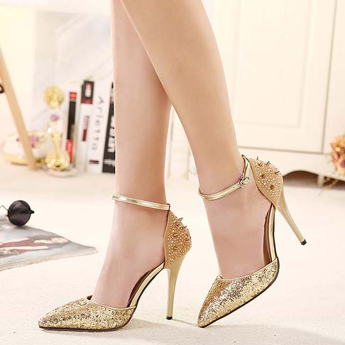 classical gold sequins rivets rhinestone trim ankle wrap