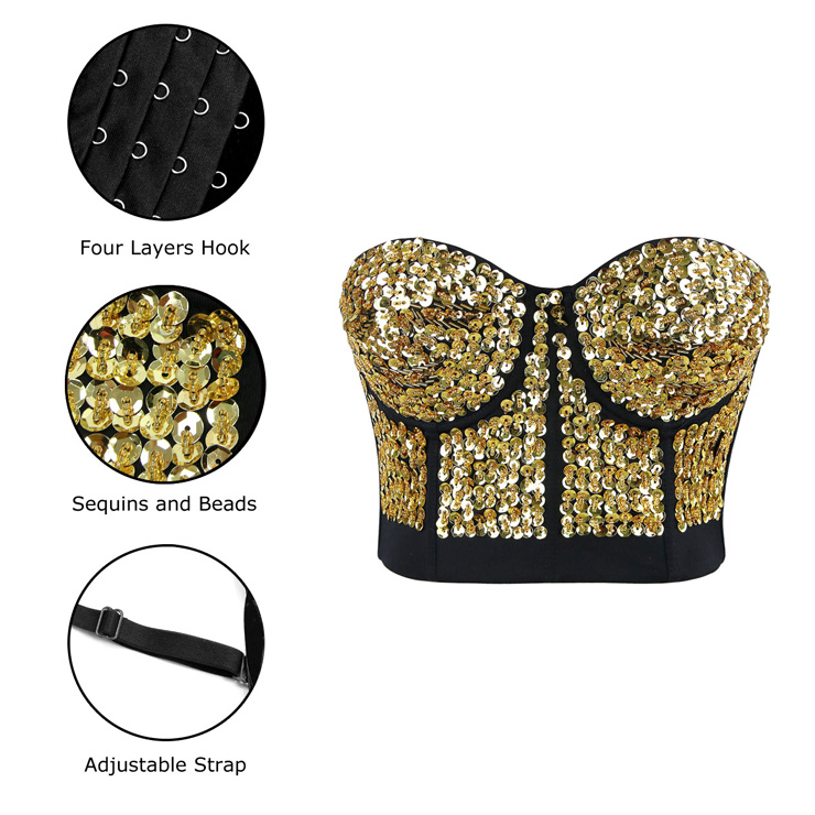 Gold Sequin Bralette Corset Crop Top, Sequin Bralette Corset Crop Top, Gold Sequin Studded Sweet Heart Top, #N7193