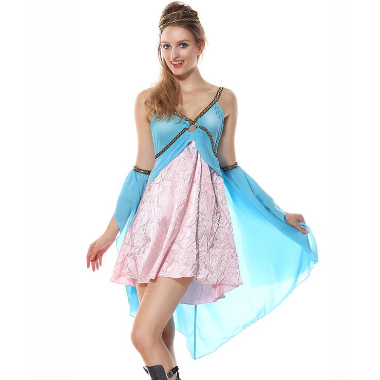 Golden Goddess Costume, Blue Goddess Costume, Female Goddess Costume, Daily Wearable Goddess Dress, Elegant Goddess Costume, Courtlike Goddess Dress#N5944