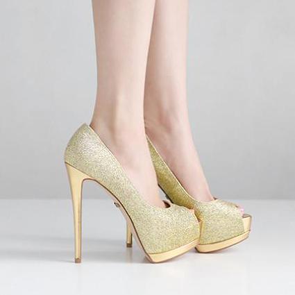 fashion bling bling golden peep toe stiletto high heels. Black Bedroom Furniture Sets. Home Design Ideas