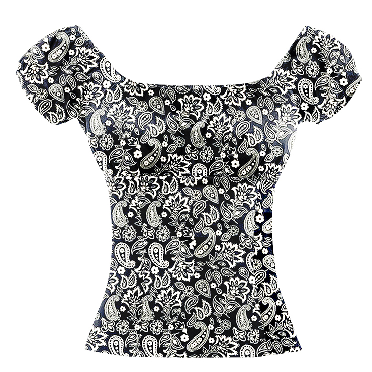 Gorgeous Paisley Pattern Black Short Sleeve Off Shoulder Blouse Top N18727