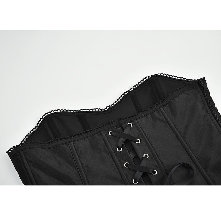 Heavy Plastic Boned Corset, Cheap Outerwear Corset, Retro Overbust Corset, Sexy Gothic Black Strapless Corset, Black Lace Overbust Corset, Victorian Gothic Waist Cincher, #N18346