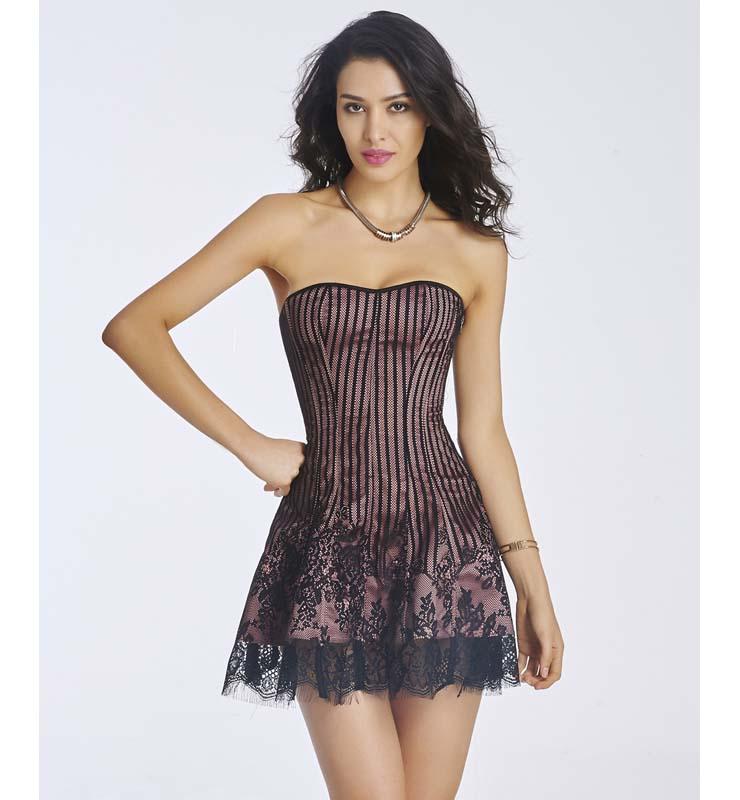 deb4afe39 Gothic Sexy Dark-Red Strapless Stripe Lace Corset Dress N11194