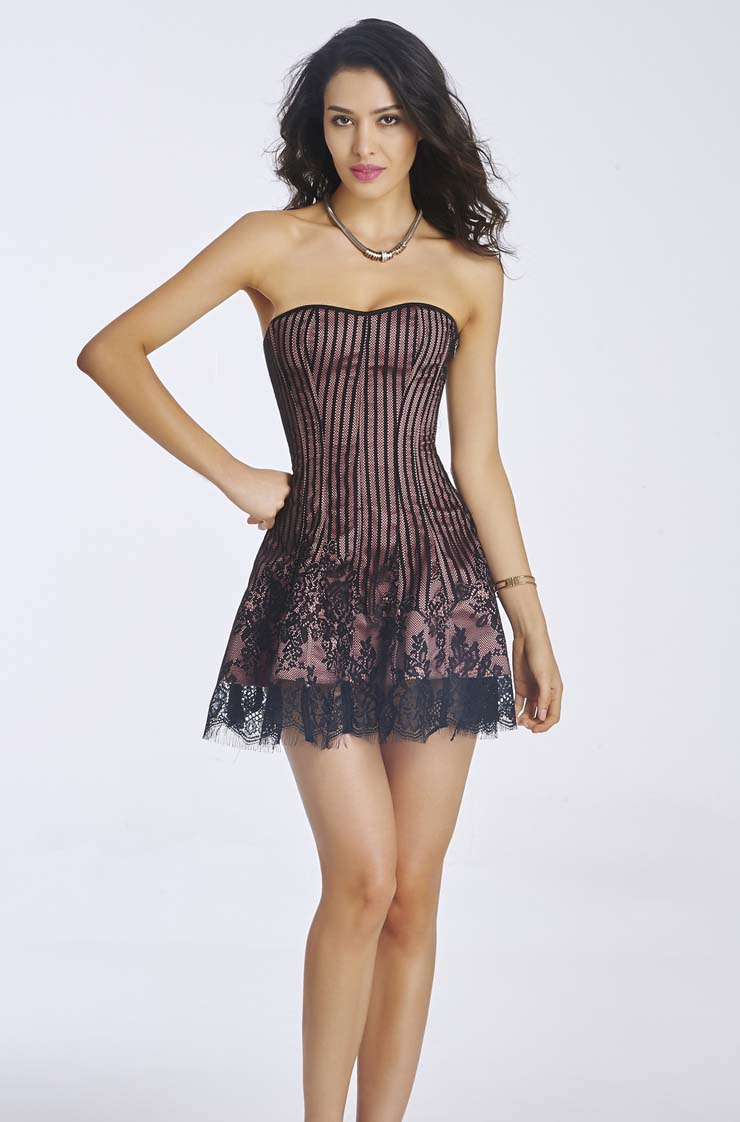 Gothic Stripe Corset Dress, Lace  Dark-Red Corset Dress, Steampunk Short Lace Corset Dress, Retro Lace Stripe Corset Dress for Women, #N11194