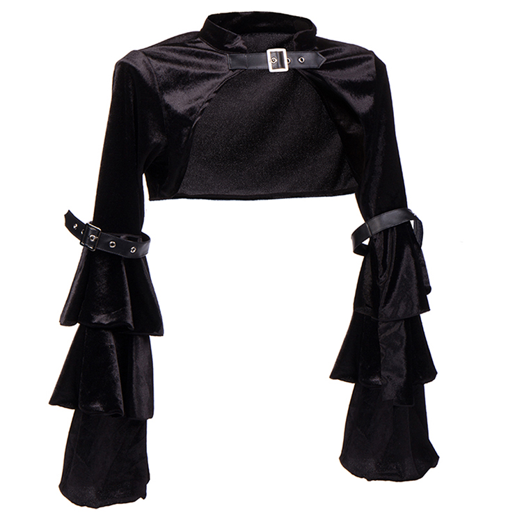 Gothic Black Shrug Bolero, Steampunk Corset Jacket, Victorian Costume, Gothic Costume, #N12747