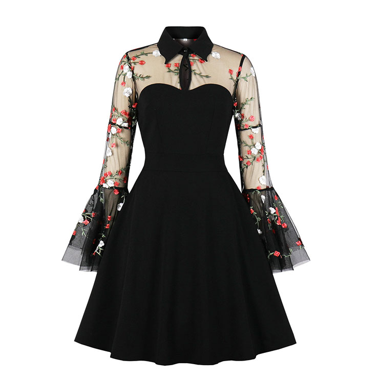 Retro Black Lapel See-through Mesh Floral Embroidered Flare Sleeve Stitching A-line Dress N21331