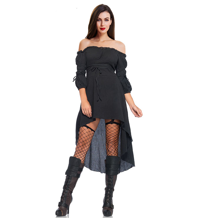 Sexy Gothic Black Ruffled Off-shoulder Vampire High Waist High-low Dress N18685