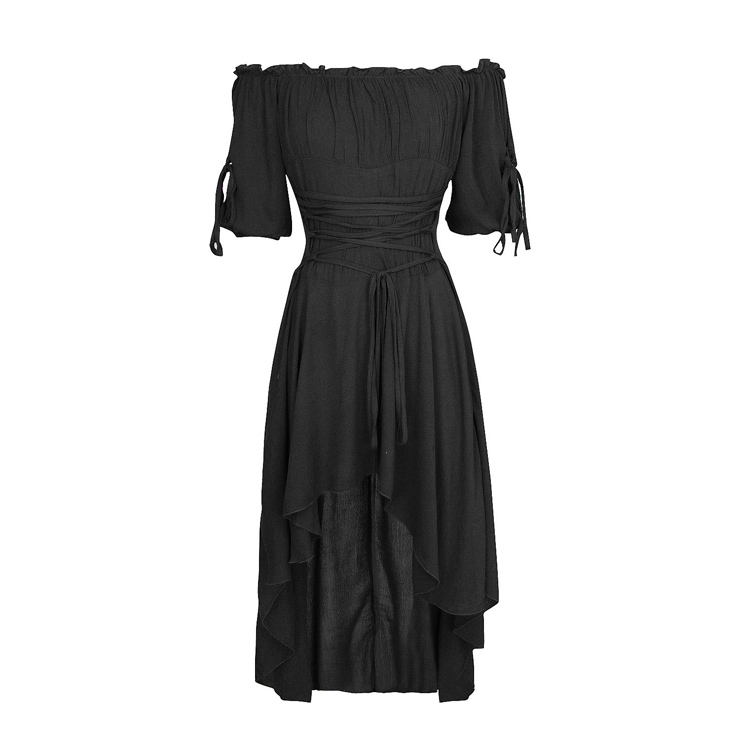Vampire Black Dress, Gothic Dresses for Women, Cocktail Party Dress, Halloween Party Dress, Vintage Half Sleeve Swing Dresses, Sexy Off-shoulder Dresses, Halloween Vampire Dress, Gothic High Low Dress, #N18685