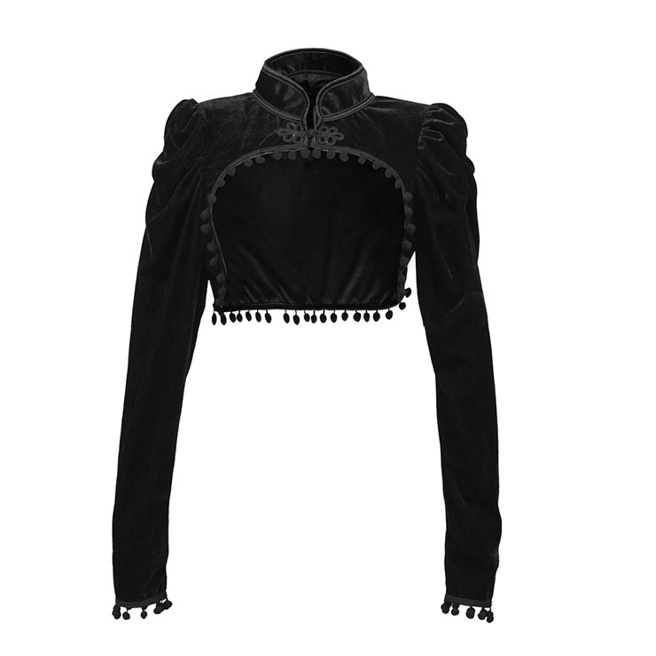 Medieval Gothic Black Velvet Stand Collar Long Sleeve Midriff Shrug Bolero with Pom-poms N19057