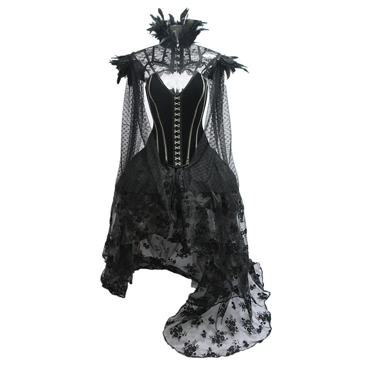 Retro Overbust Corset Skirt Set, Sexy Gothic Black Burlesque Halloween Vampire Corset Skirt Set, Gothic Choker Corset Costume, Gothic Halloween Costume, Steampunk Corset for Women, Steel Boned BodyShaper Corset, Sexy Overbust Corset, #N19601