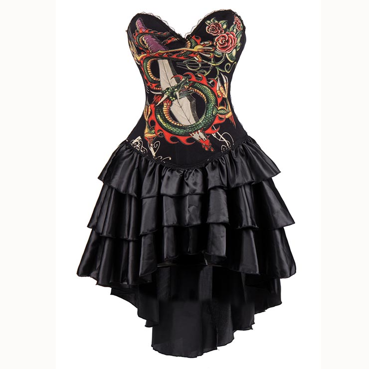 Womens Gothic Burlesque Printed Corset Dress Halloween Costume N15296
