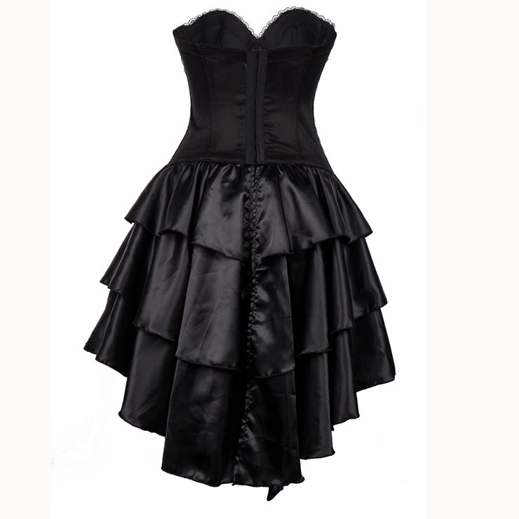 Burlesque Queen Costume, Burlesque Costume, Burlesque Halloween Costume, Black Corset Dress, Burlesque Corset Satin Dance Dresses, Gothic Corset Dress, #N15300