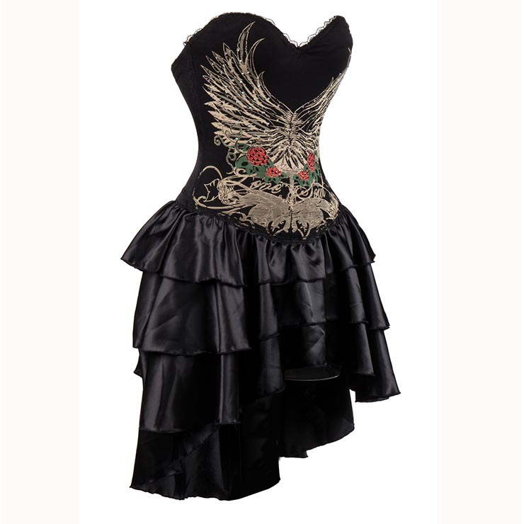 Womens Gothic Burlesque Printed Corset Dress Halloween Costume N15302