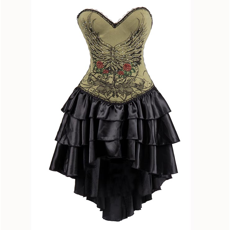 Womens Gothic Burlesque Printed Corset Dress Halloween Costume N15305