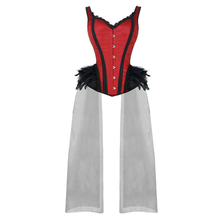 Gothic Red Feather Jacquard Buckle Shoulder Straps Plastic Bone Gauze Hem Overbust Corset N20230
