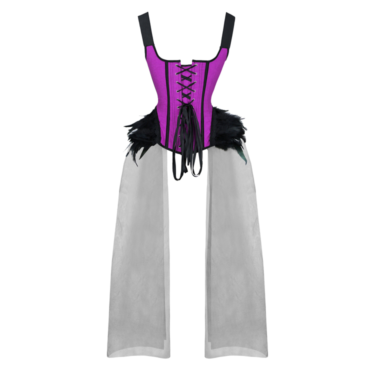 Fashion Body Shaper Corset, Sexy Halloween Overbust Corset, Wide Straps Overbust Corset, Plastic Bone Shapewear Overbust Corset, Gothic Halloween Party Cosplay Costume, Jacquard Overbust Corset for Women, #N20231