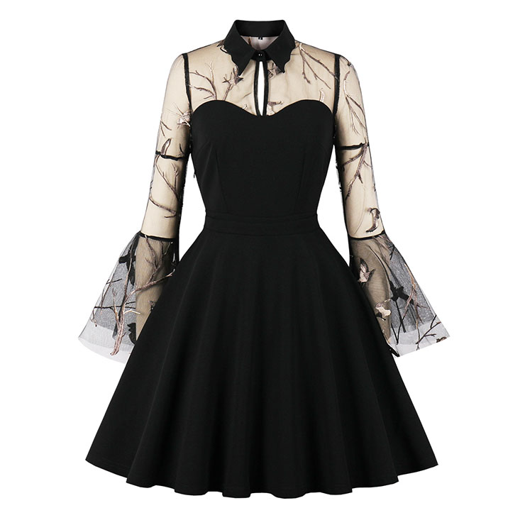 Sexy Gothic Black See-through Mesh Embroidered Lapel Flare Sleeve Vampire A-line Dress N21482