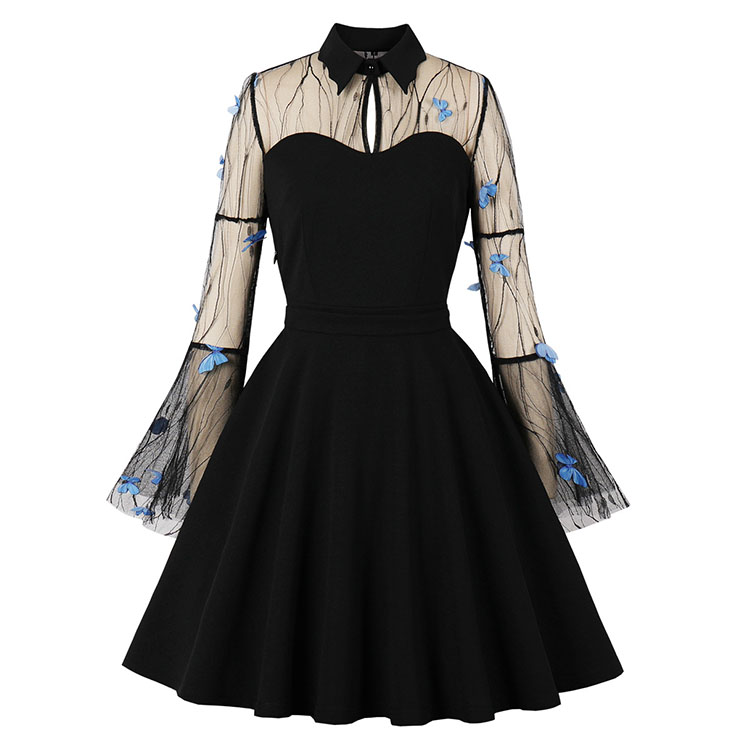 Sexy Gothic Black Lapel See-through Mesh Vivid Butterfly Embroidered Flare Sleeve Midi Dress N21483