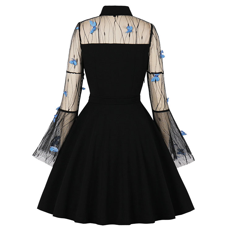 Butterfly Embroidered Party Dress, Vintage Party Dress, Vintage Flare Sleeve Swing Dresses, A-line Cocktail Party Swing Dresses, Retro Black A-line Dress, Plus Size Midi Dress, #N21483