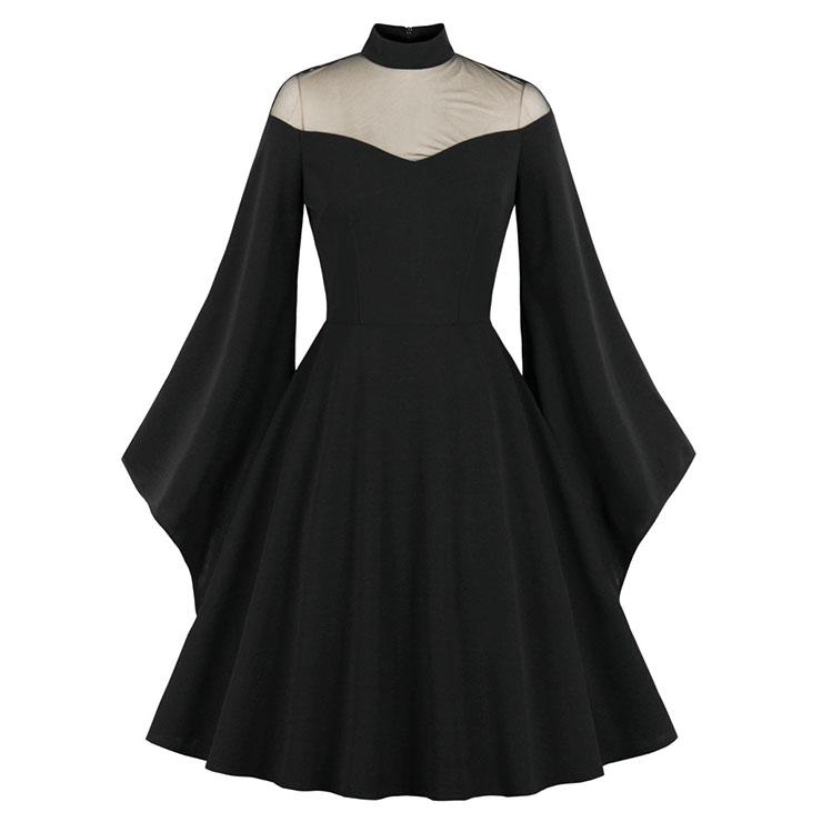 Sexy Gothic See-through Mesh Patchwork High Neck Flare Sleeve Vampire Retro Midi Dress N21491