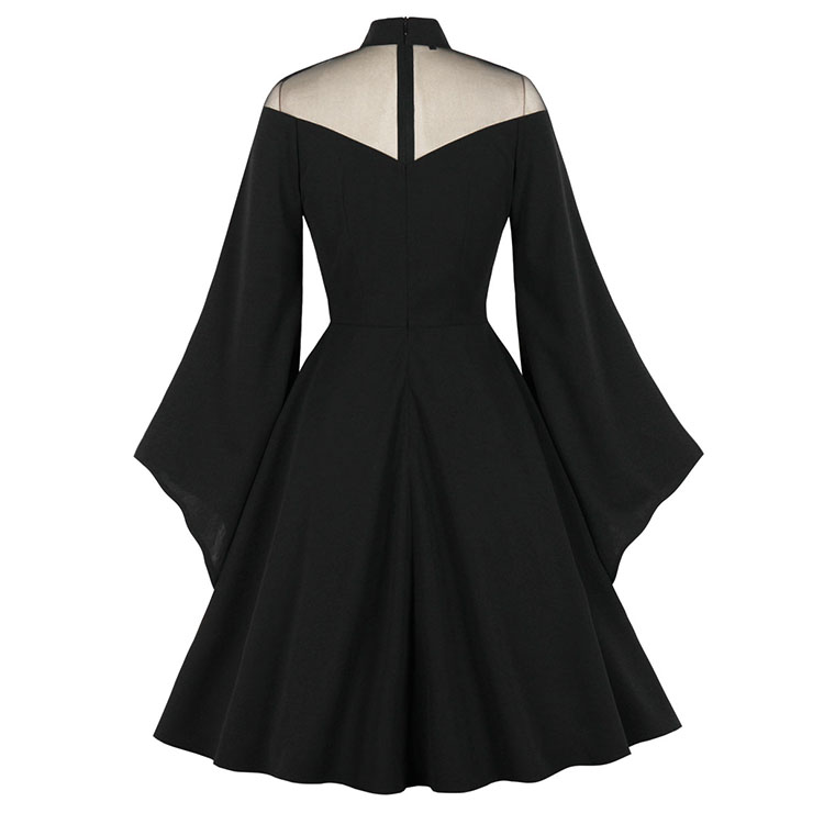 Noble Evil Vampire Queen Halloween Cosplay Party Dress, Vintage Party Dress, Vintage Flare Sleeve Swing Dresses, A-line Cocktail Party Swing Dresses, Retro Black A-line Dress, Plus Size Midi Dress, #N21491