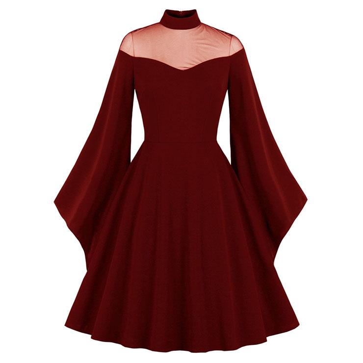 Sexy Gothic See-through Mesh Patchwork High Neck Flare Sleeve Vampire Retro Midi Dress N21492