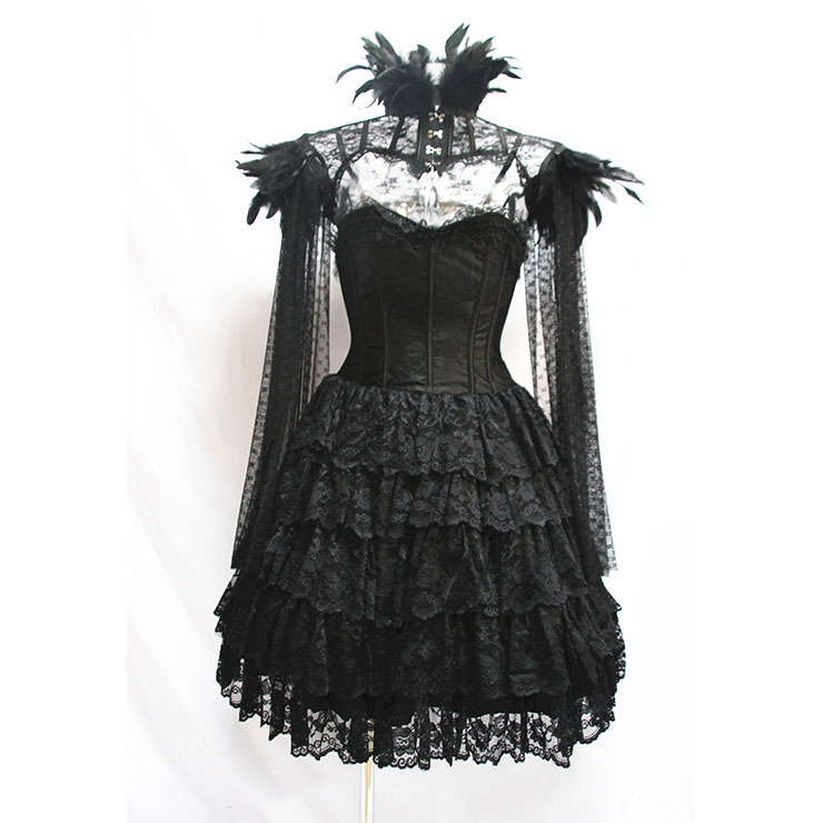 Victorian Gothic Strapless Multi-Layered Overbust Corset Dress Feather High Neck Cape Shrug N19604