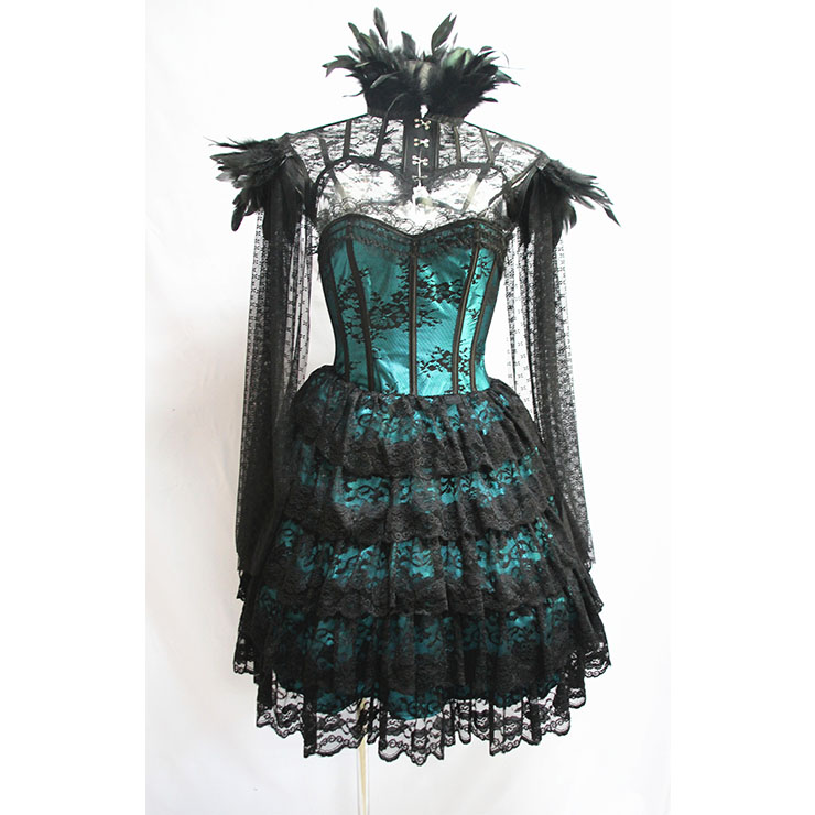 Victorian Gothic Strapless Lace Satin Overbust Corset Dress Feather High Neck Cape Shrug N19606