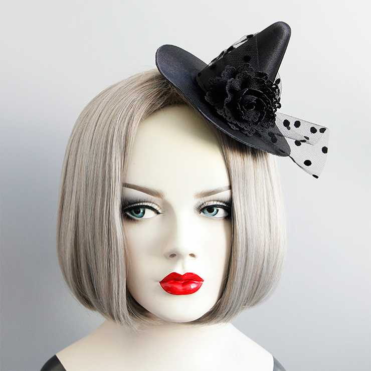 Gothic Black Flower and Mesh Witch Pointed Hat Fascinator Party Hair Clip Hairpin Accessory J18800
