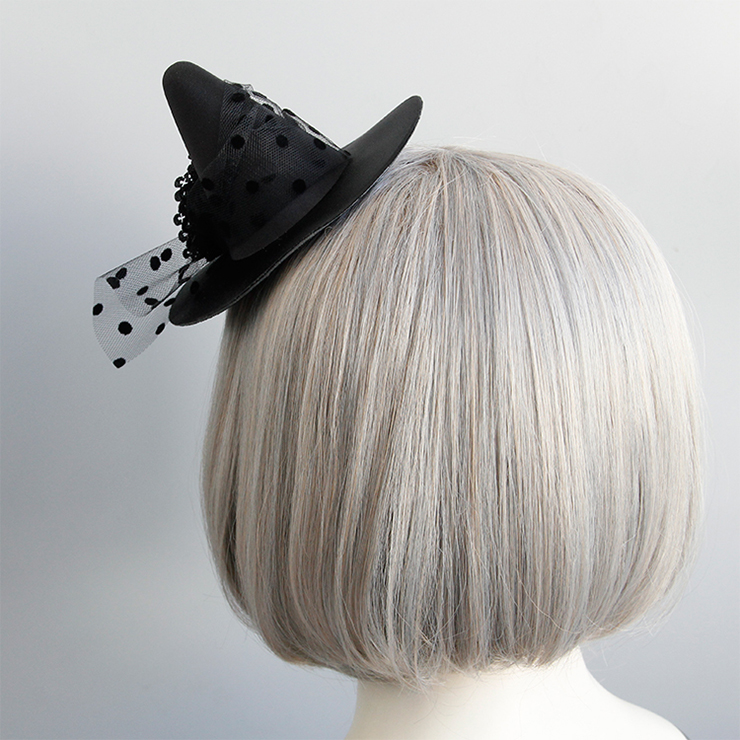 Retro Fancy Fascinator Pointed Hat Hair Clip, Party Hairpin, Fashion Ball Hair Accessory, Fancy Victorian Style Fascinator Hair Clip, Vintage Mesh Fascinator Hairpin for Women, Gothic Style Hair Clip, #J18800