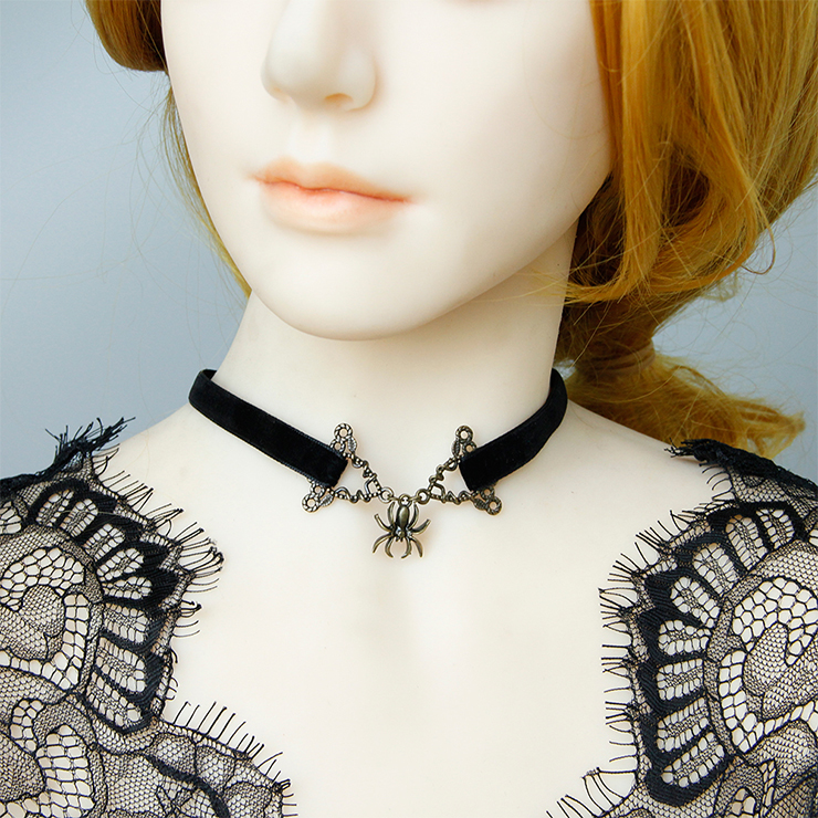 Gothic Style Alloy Spider And Black Cloth Belt Choker Halloween Necklace J19704