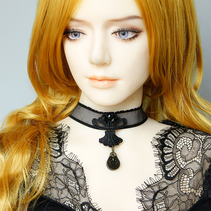Gothic Style Mesh Black Spider And Chain Pendant Halloween Necklace J19700