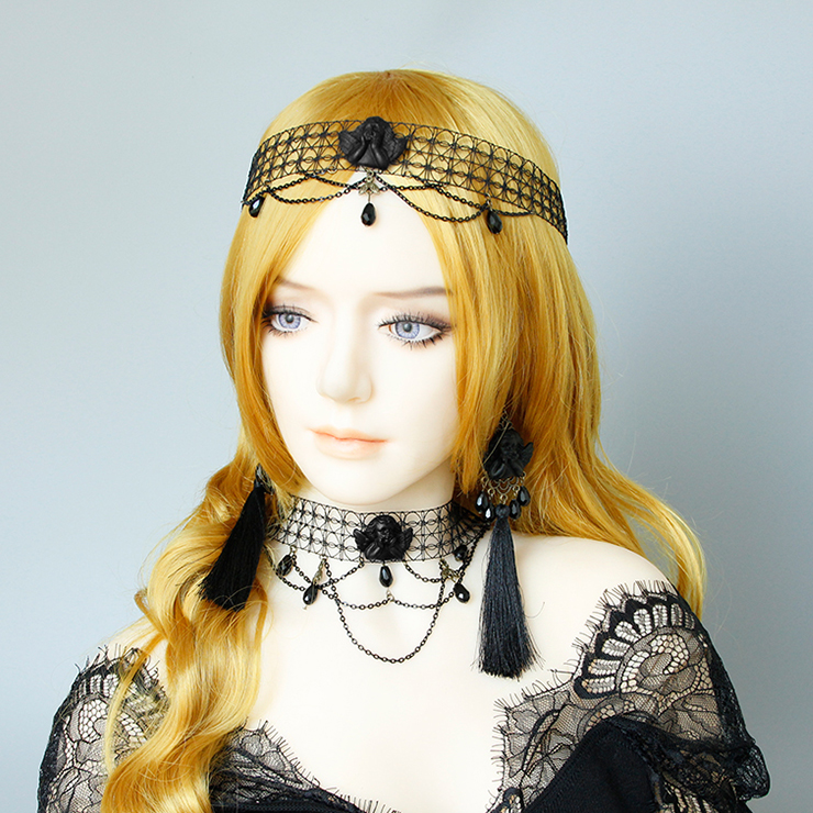 Vintage Halloween Necklace, New Gothic Necklace, Gem Necklace, Vintage Necklace, Mesh Choker, Gothic Necklace for Women, Black Evil Little Angel Necklace, #J19703