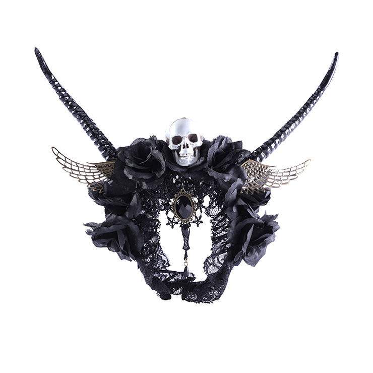 Gothic Lace Rose Antelope Horn Angel Wings Skull Halloween Party Hair Band Accessory N21210