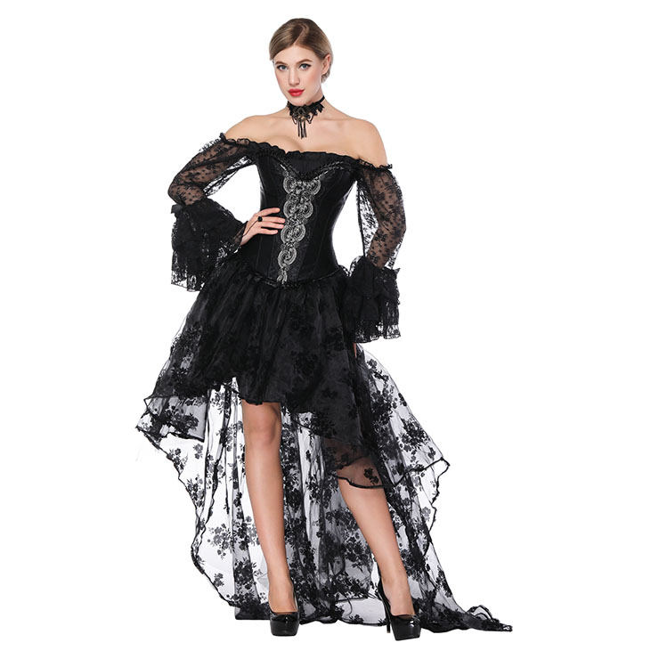 Gothic Scalloped Lace Detail Overbust Corset with Organza High Low Skirt Sets N18220